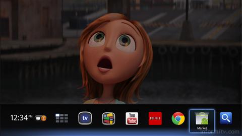 Google TV application menu.