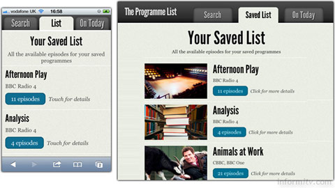 The Programme List provides a way of remembering what to watch and works across smartphones, tablets and laptop or desktop computers.