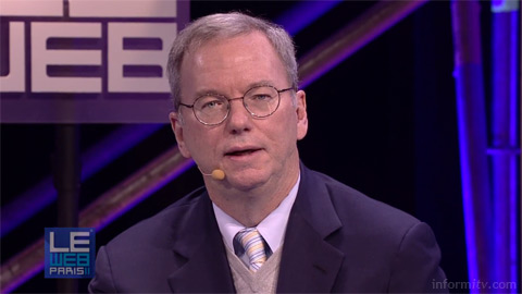 Eric Schmidt, the executive chairman of Google, speaking about Google TV at LeWeb conference in Paris.