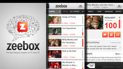 Zeebox is now available on the Apple iPhone and iPod Touch, in addition to the iPad.