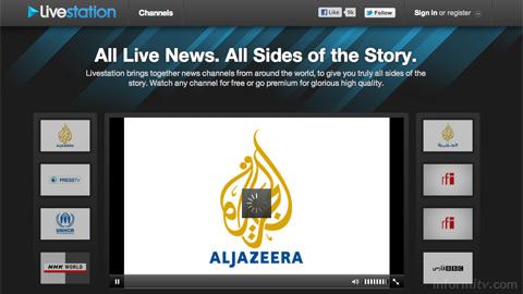 Livestation web site aggregates leading international news channels.