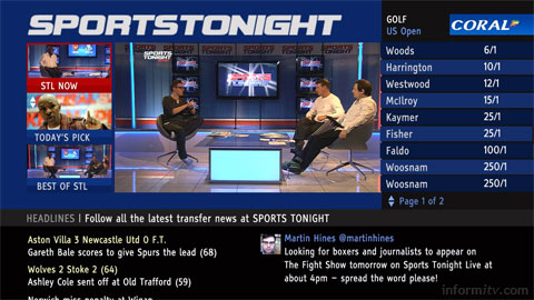 Sports Tonight is available on Freeview through the Connect TV platform.