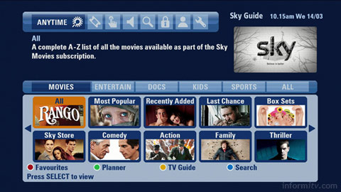 Sky cleared over movie market monopoly. Screenshot of Sky Anytime+ Movies.