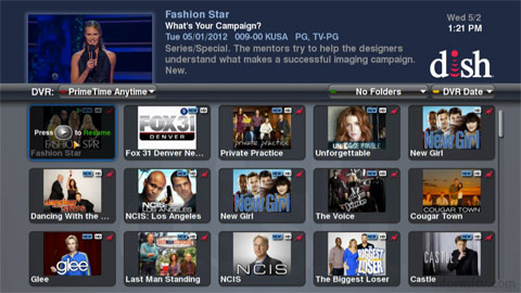 Dish Hopper view of recorded primetime programming showing kangaroo symbol for programmes with ad-skipping enabled.
