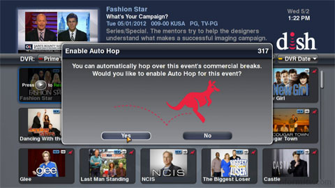 Dish Hopper asks users whether they wish to skip commercials.