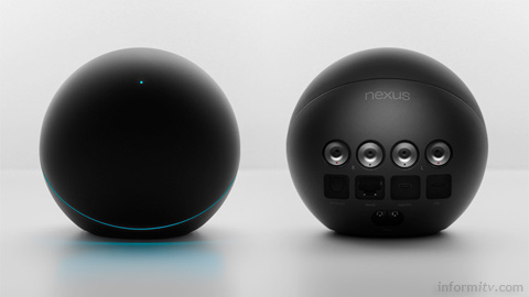 The Nexus Q, front and rear views, as revealed by Google, is an attractively designed by currently rather limited media streamer.