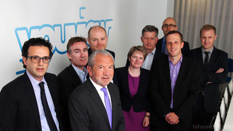 Executives representing the YouView Partners, with Lord Sugar, front.