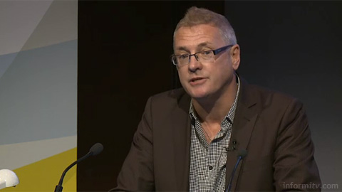 David Brennan of Media Native speaking at The Great Connected Television Debate. Image courtesy IBC/IET.