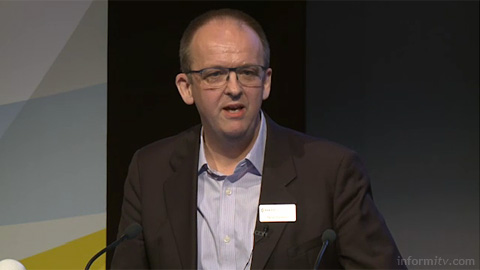 Nick Thexton of Cisco speaking at The Great Connected Television Debate. Image courtesy IBC/IET.