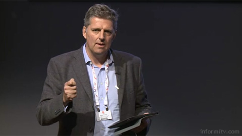 Nigel Walley of Decipher speaking at The Great Connected Television Debate. Image courtesy IBC/IET.