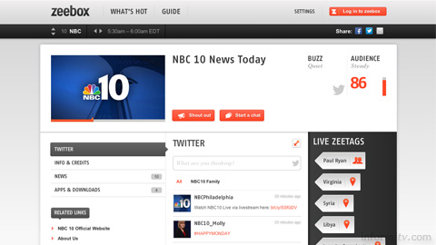 The American view of the zeebox web site.