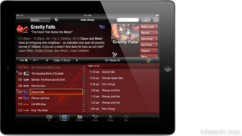 The Virgin TV Anywhere iPad app from Virgin Media.