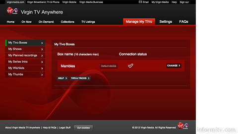 The Virgin TV Anywhere online service from Virgin Media.