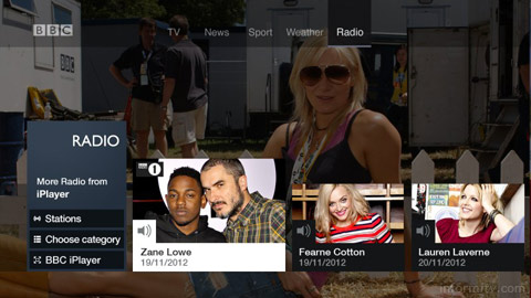 BBC connected red button radio service.