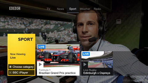 BBC connected red button sport service.