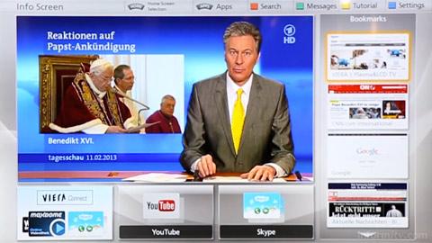 Panasonic Smart Viera info screen, showing a broadcast channel in a window alongside other applications.