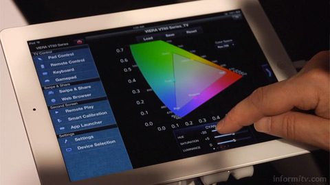 Panasonic Smart Viera remote calibration feature allows various display parameters to be adjusted.