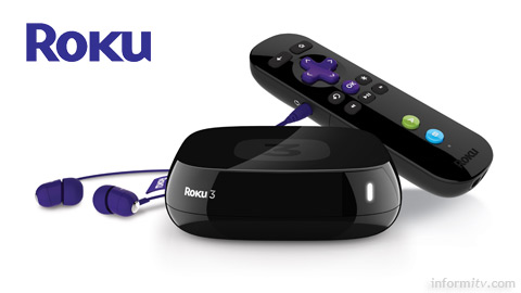 The Roku 3 is the latest version of the Roku streaming player and the remote control includes a headphone socket.