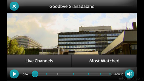 ITV Player, showing Goodbye Granadaland, a tribute to the heritage of company.