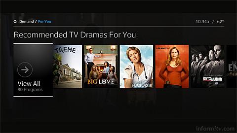 Comcast X2 video-on-demand screen.