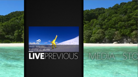 Advanced Digital Broadcast Graphyne user interface with big bold typography. Image: ADB