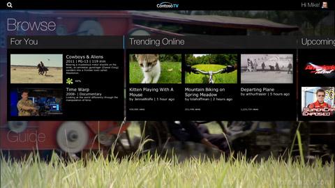 Ericsson Mediaroom prototype browse screen. Image: Ericsson