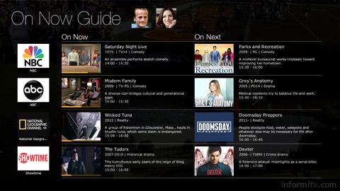 Ericsson Mediaroom prototype programmes on now and next screen. Image: Ericsson