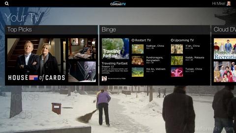 Ericsson Mediaroom prototype personalised recommendations screen. Image: Ericsson