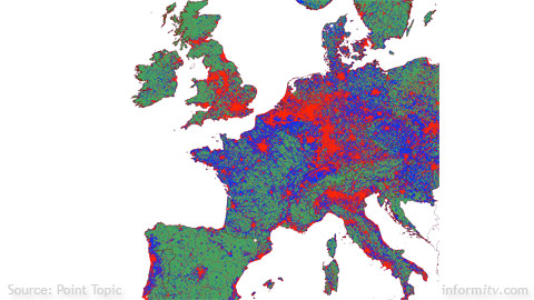 Demand density for broadband across Western Europe. Source: Point Topic.