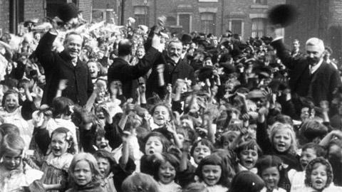 St Barnabus School, Blackburn (1905). Cropped. Mitchell and Kenyon archive. BFI.