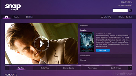 Snap from Sky Deutschland offers access to movies and box sets for a monthly subscription.