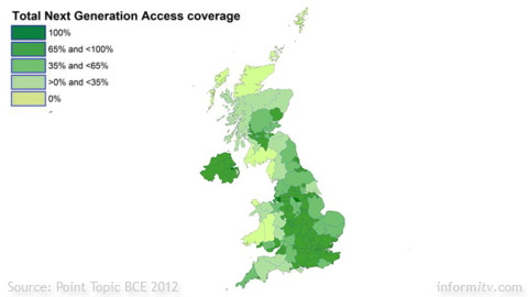 Superfast broadband availability in the United Kingdom 2012. Source: Point Topic.