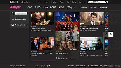 BBC iPlayer home screen