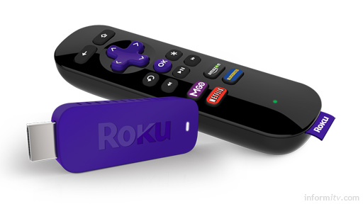 Roku HDMI stick and remote control. Image: Roku.
