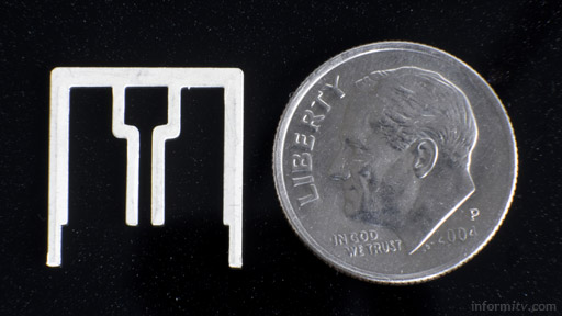 Aero antenna - shown next to a ten cent coin, which is just under 18mm in diameter. Photo: Aereo.
