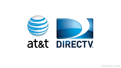 Implications of AT&T acquiring DIRECTV. Company logos.