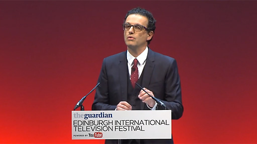 David Abraham delivering The James MacTaggart Memorial Lecture at the Edinburgh International Television Festival.