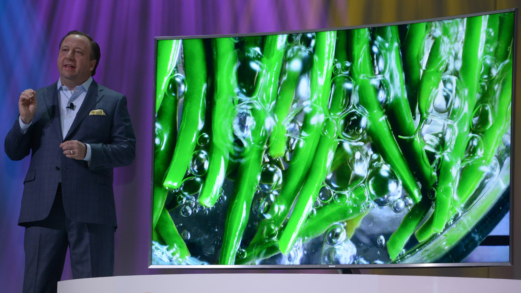 Samsung demonstrates High Dynamic Range with its SUHDTV in a press conference at the 2015 International CES. Photo: CES.