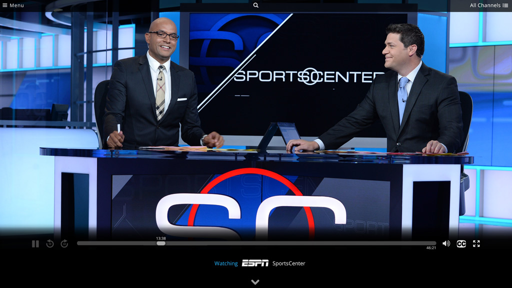 Sling TV player showing ESPN SportsCenter.