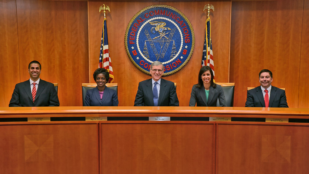 FCC Commissioners. Left to Right: Ajit Pai, Mignon Clyburn, Tom Wheeler (Chairman), Jessica Rosenworcel and Michael O'Rielly. Photo: FCC, November 2013.