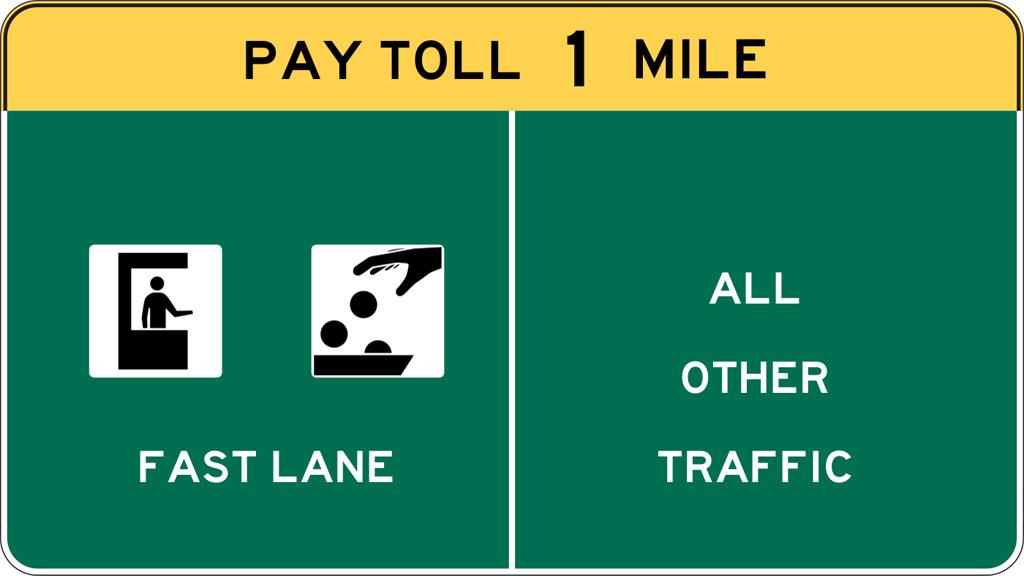Fast Lane toll sign graphic. informitv.