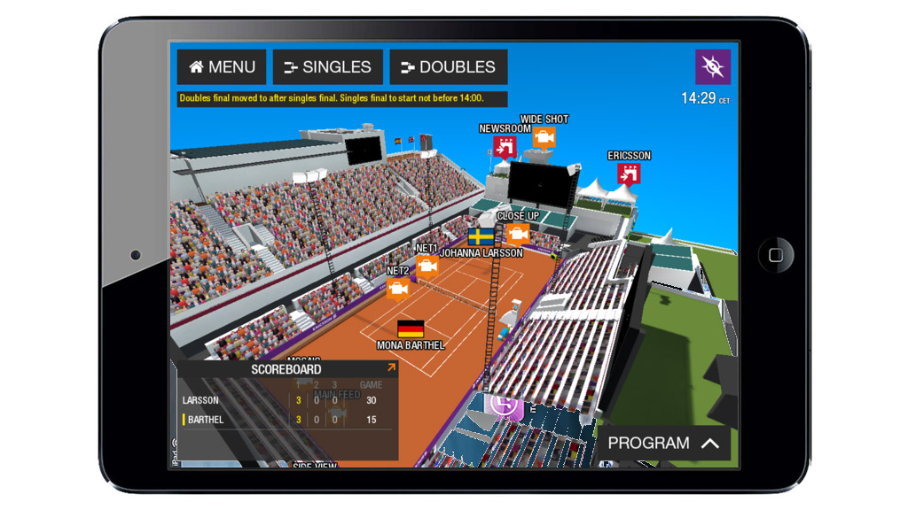 Ericsson Networked Event Platform in use as part of the coverage of Swedish Open tennis tournament at Båstad in Sweden.