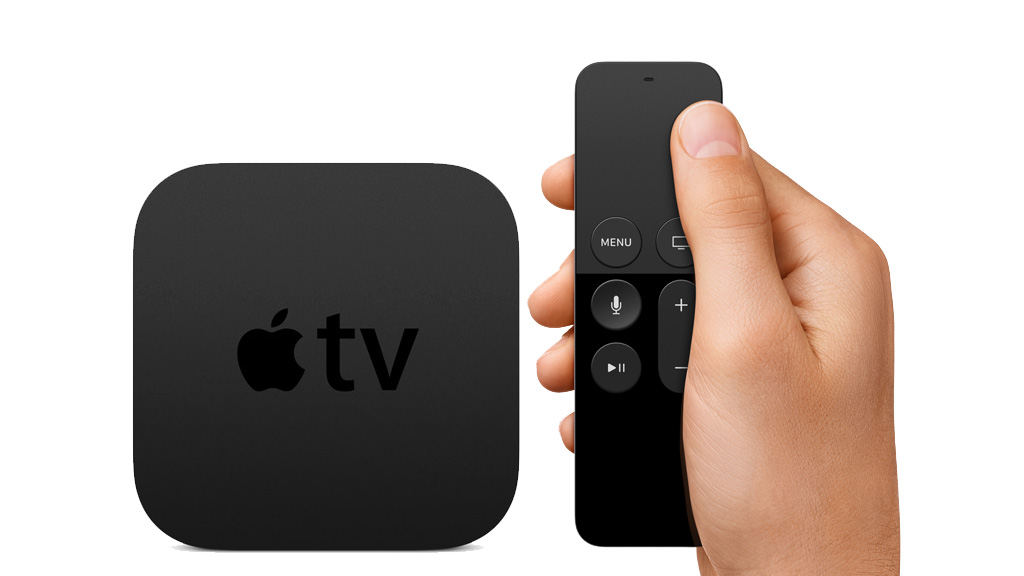 Apple TV fourth generation box with remote control.