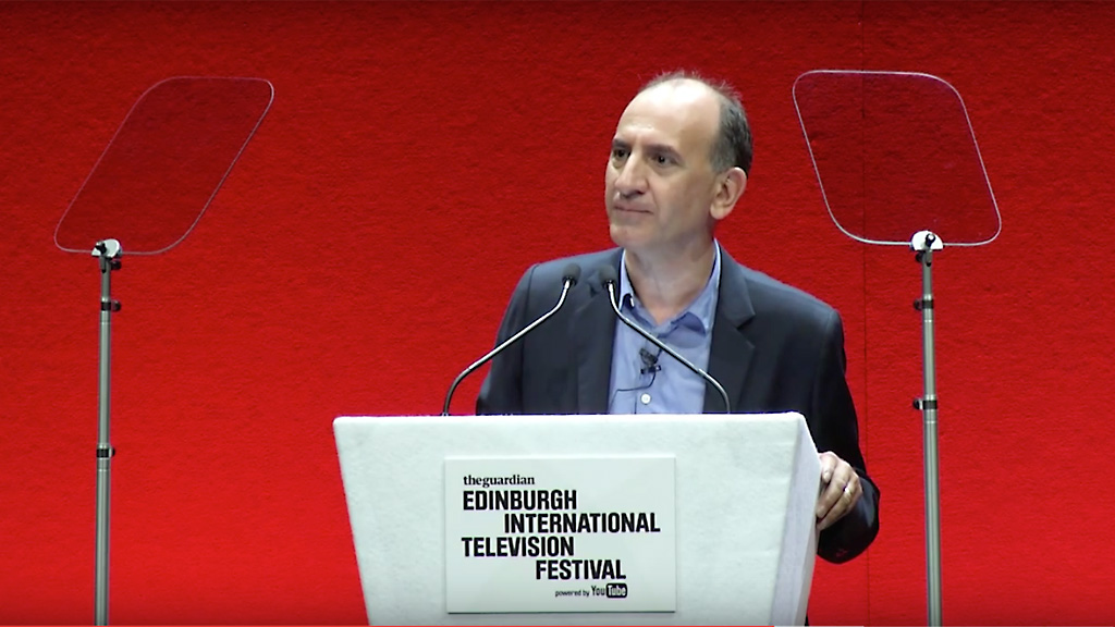 Armando Iannucci, Edinburgh International Television Festival, MacTaggart Lecture 2015. Image: YouTube.
