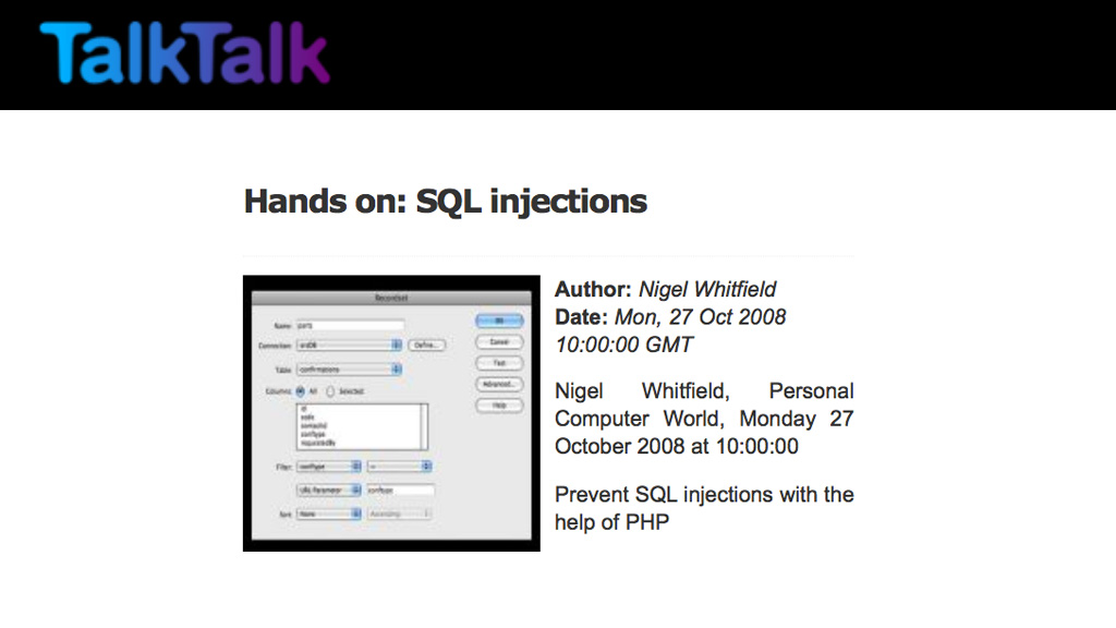 TalkTalk web site advice on SQL injections