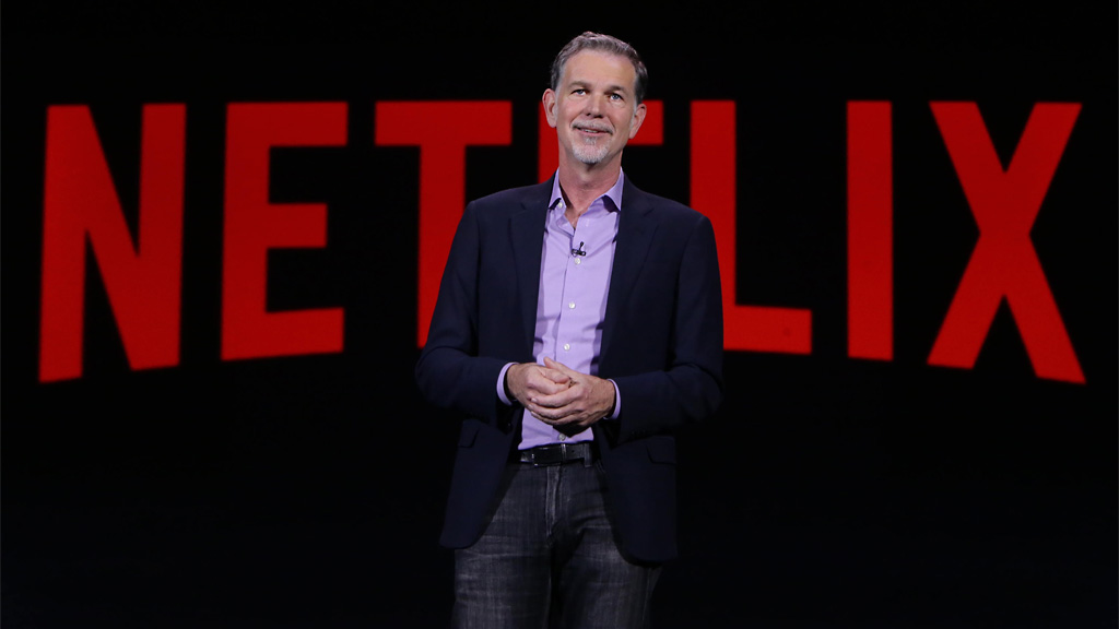 Reed Hastings, the co-founder and chief executive of Netflix, announcing the extension of the service to a total of over 160 countries at CES 2016 in Las Vegas. Photo: Netflix