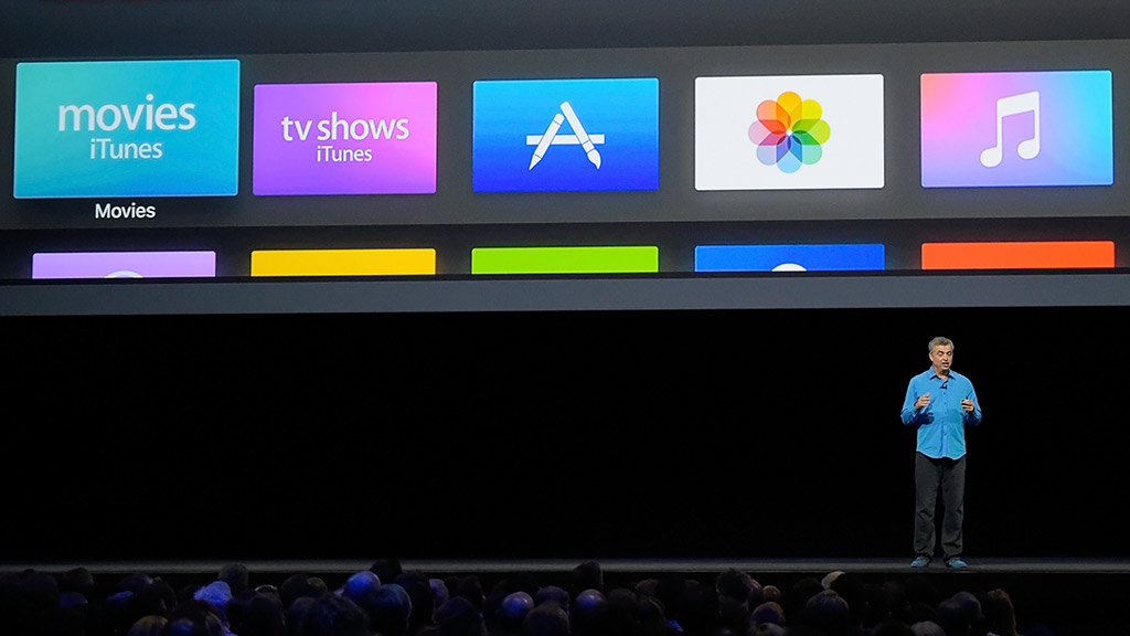 Eddy Cue, senior vice president of internet software and services at Apple, demonstrates new Apple TV capabilities at the Apple Worldwide Developer Conference 2016 in San Francisco. Photo: Apple