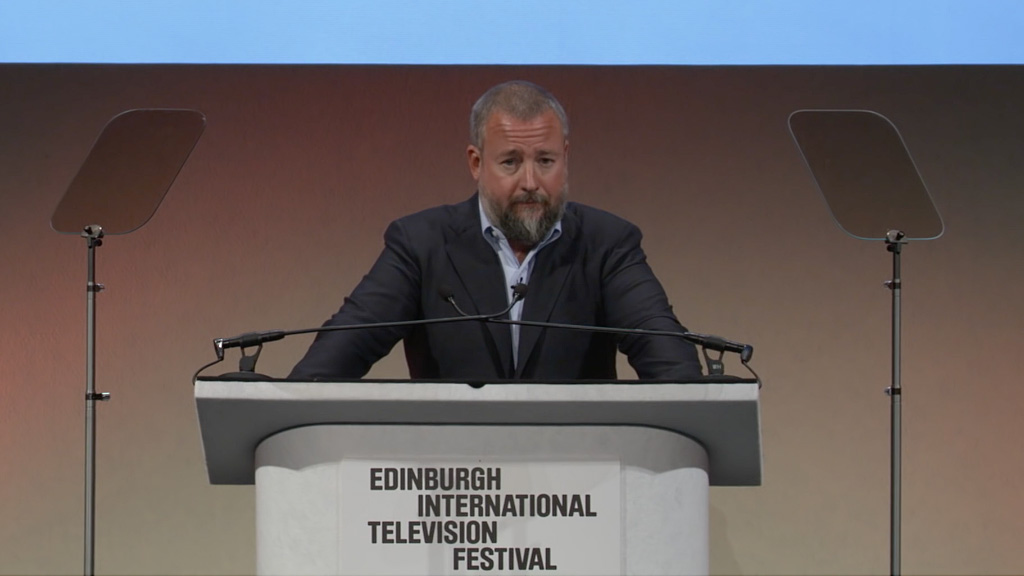 Shane Smith, the chief executive of Vice Media, presenting the annual MacTaggart Lecture at the Edinburgh International Television Festival 2016.