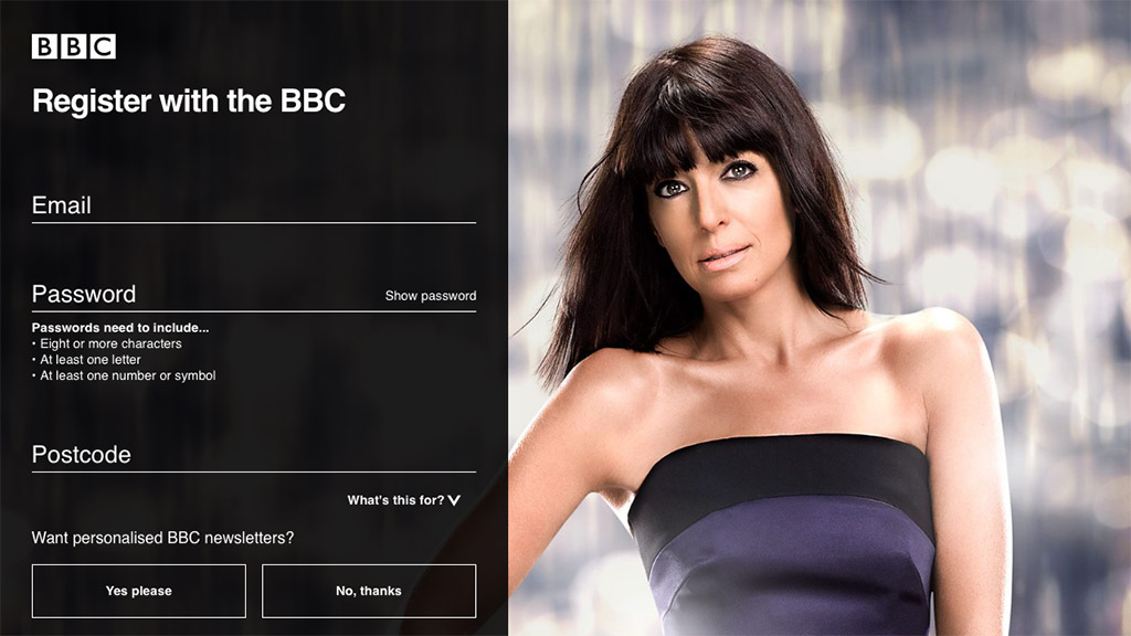 Registration page for the BBC iPlayer.