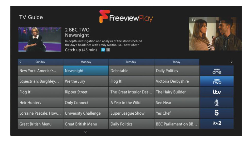 Freeview Play user interface.